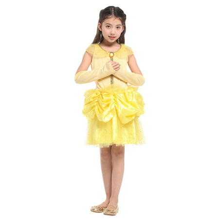 Girls' Beautiful Belle Princess Dress-Up Costume Set with Gloves, L