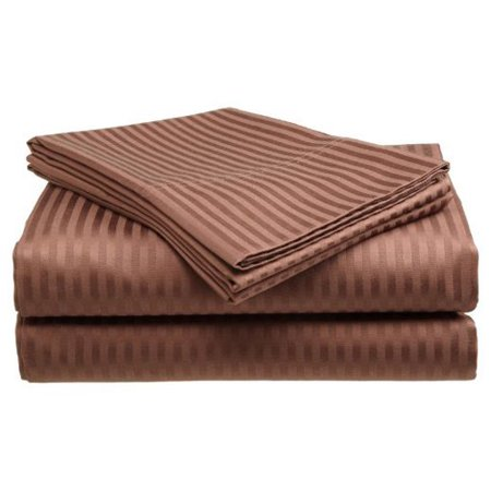 Deluxe Home 100% Cotton  400 Thread Count Dobby Stripe Sheet Set ( QUEEN, Coffee) ()