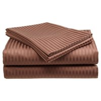 Deluxe Home 100% Cotton  400 Thread Count Dobby Stripe Sheet Set ( QUEEN, Coffee)