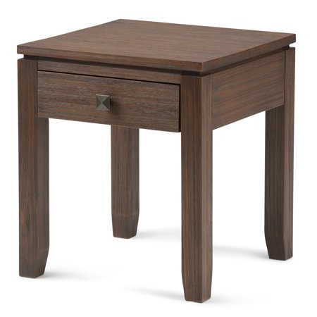 Brooklyn + Max City Solid Wood 18 inch Wide Square Contemporary End Side Table in Farmhouse Brown