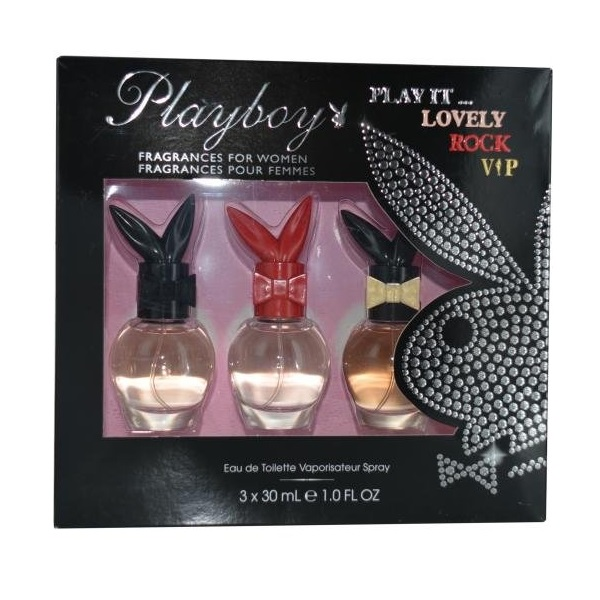 Playboy Play It... Lovely, Rock, VIP Three Piece Women's Fragrance Gift Set + Schick Slim Twin ST for Dry Skin