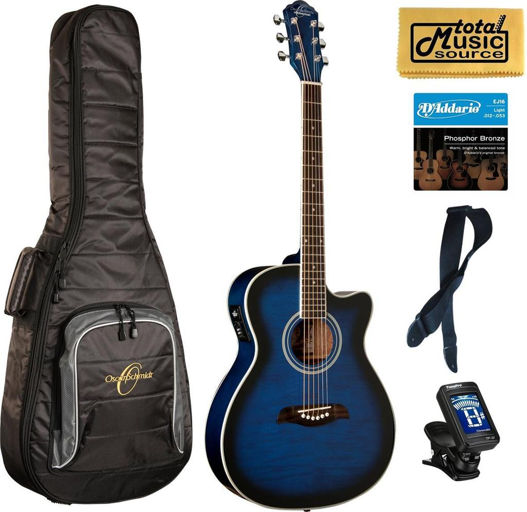 Oscar Schmidt Auditorium Cutaway Trans Blue Acoustic/Electric Guitar, Bundle w/Bag OACEFTBL BAGPACK