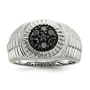 Mia Diamonds 925 Sterling Silver Mens Black Diamond Polished and Satin Ring Size - 11