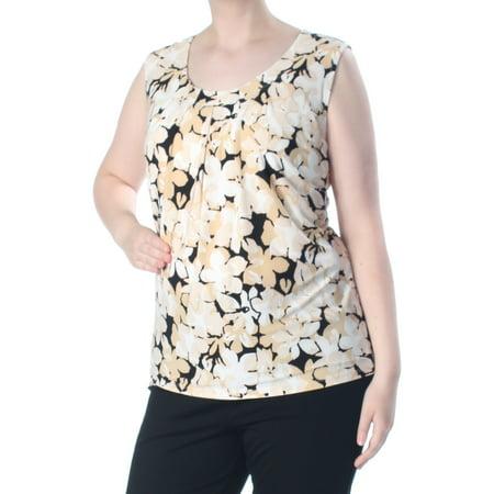 KASPER Womens Beige Shell Floral Print Pleat Neck Sleeveless Top Plus  Size: 2X