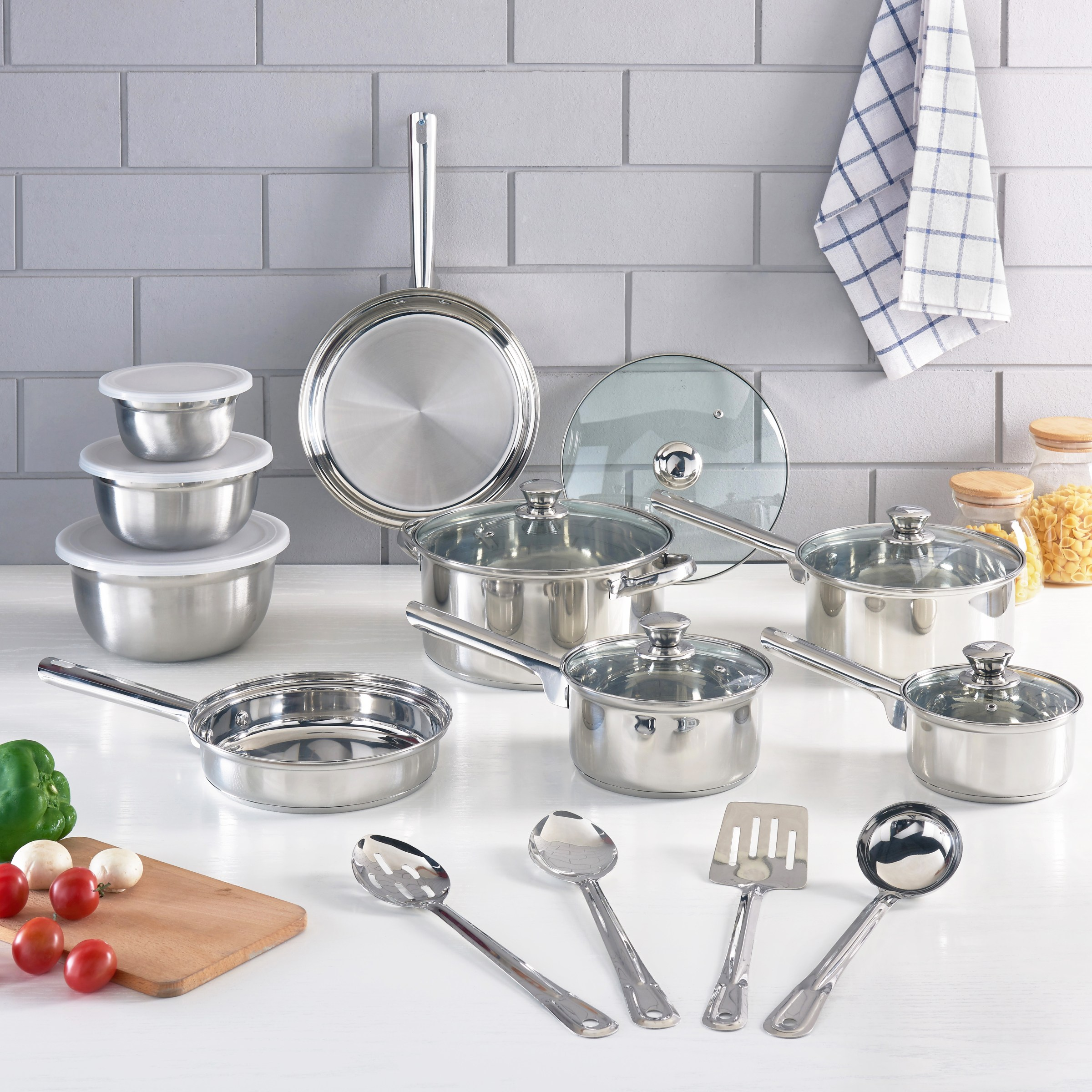 Mainstays Stainless Steel Cookware Set, 10-18 Pieces