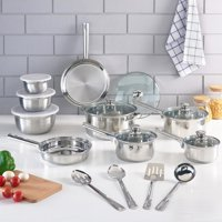 Mainstays Stainless Steel 18 Piece Cookware Set