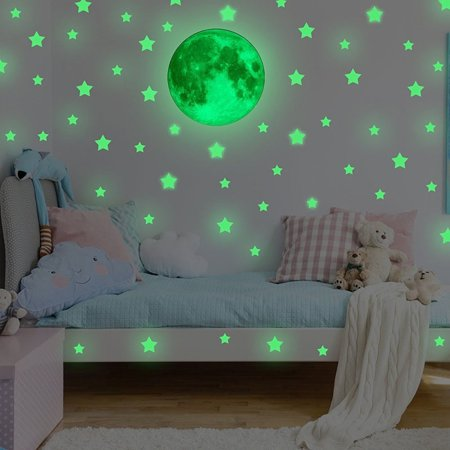 Glow In Dark Wall Ceiling Stars Moon Stickers Wall Stickers Night Kid Home Decor
