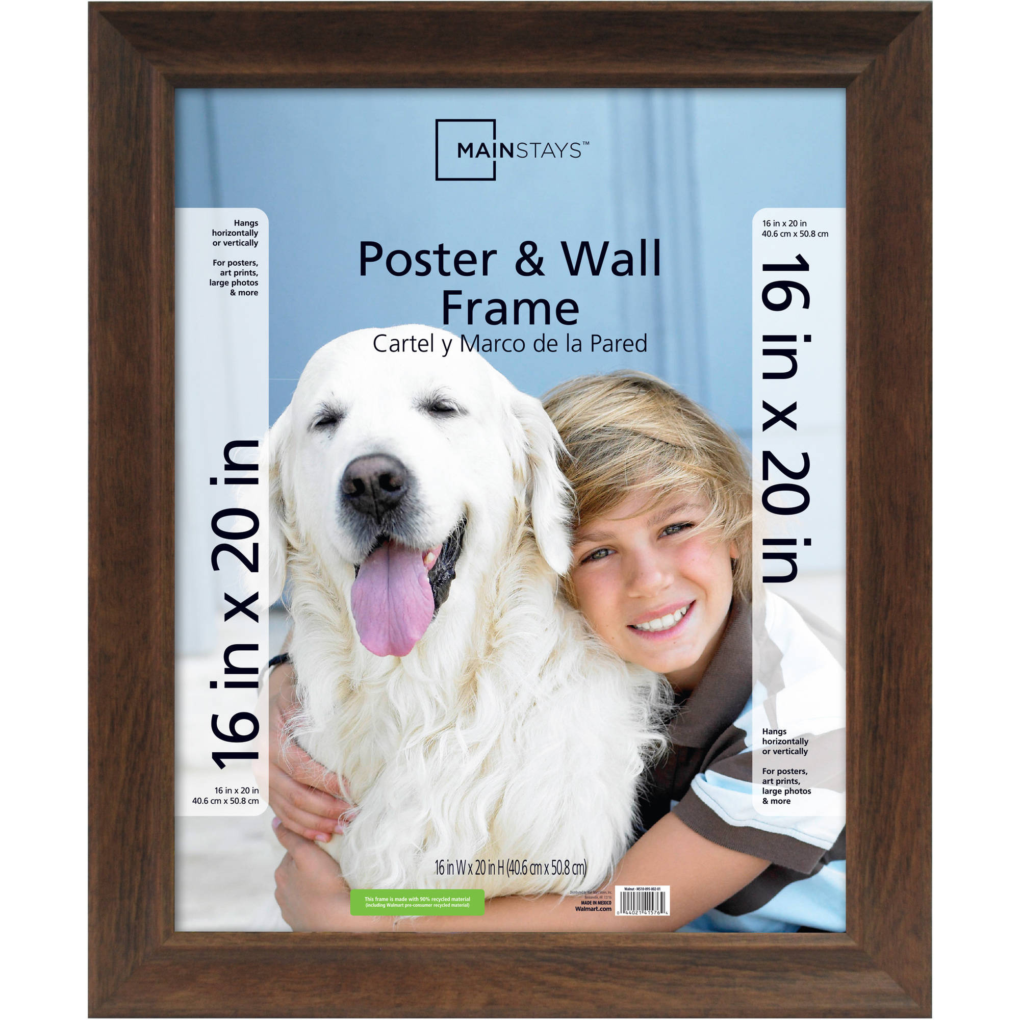 Mainstays 16x20 Wide Walnut Poster and Picture Frame by MCS Industries