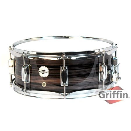 "Deluxe Snare Drum by Griffin | 14"" x 5.5"" Poplar Wood Shell with Zebra PVC Glossy Finish 