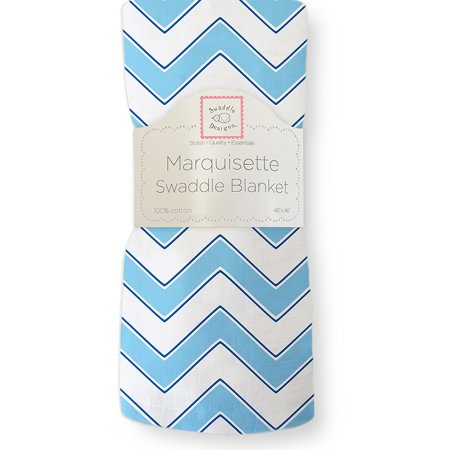 - Marquisette Swaddling Blanket, Premium Cotton Muslin, Blue Chevron, Breathable, lightweight, cotton marquisette swaddling blanket to keep baby cool in warmer.., By SwaddleDesigns