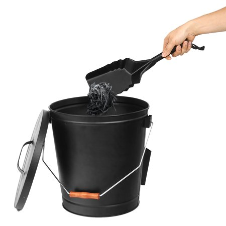 ZENSTYLE Steel Ash Bucket with Shovel Fireplace Pits Stoves 5 Gallon Tight (Air Grease Pump For 5 Gallon Bucket)