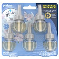 Glade PlugIns Refill 5 CT, Clean Linen, 3.35 FL. OZ. Total, Scented Oil Air Freshener Infused with Essential Oils