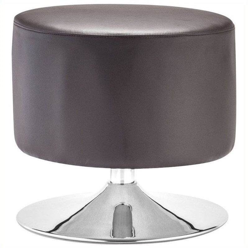 Zuo Plump Faux Leather Ottoman in Brown