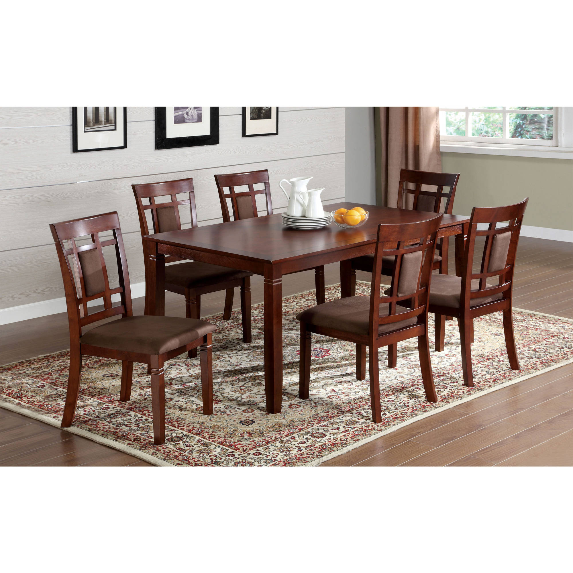 Furniture of America Toya Transitional 7-Piece Dining Set, Dark Cherry