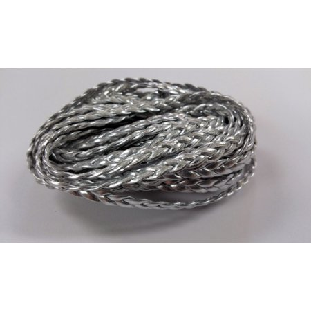 5 YARDS - 5MM Silver Metallic Herringbone Style Woven Braided Flat Faux Leather Cord BC0003