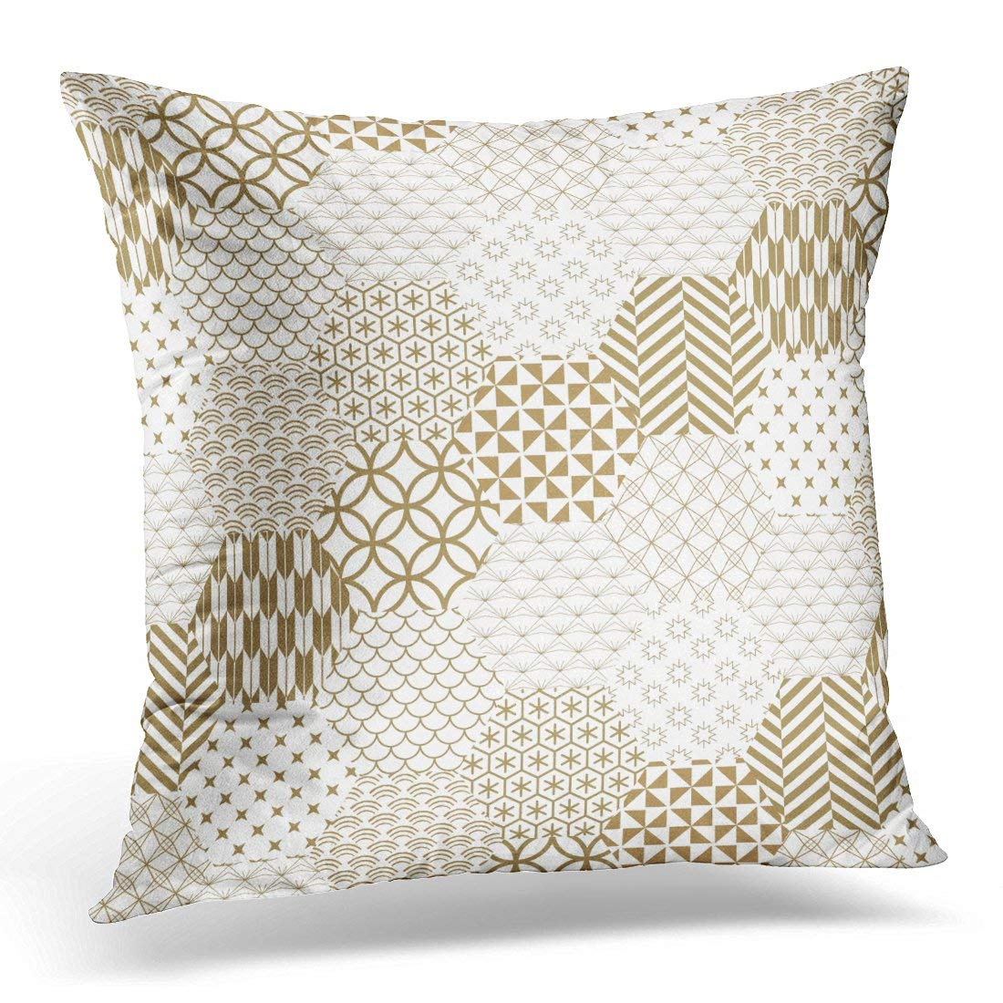 USART White Japanese Gold and The Exquisitely Delicate Side of Traditional Woodwork Rooms to Create Stunning Pillows case 18x18 Inches Home Decor Sofa Cushion Cover