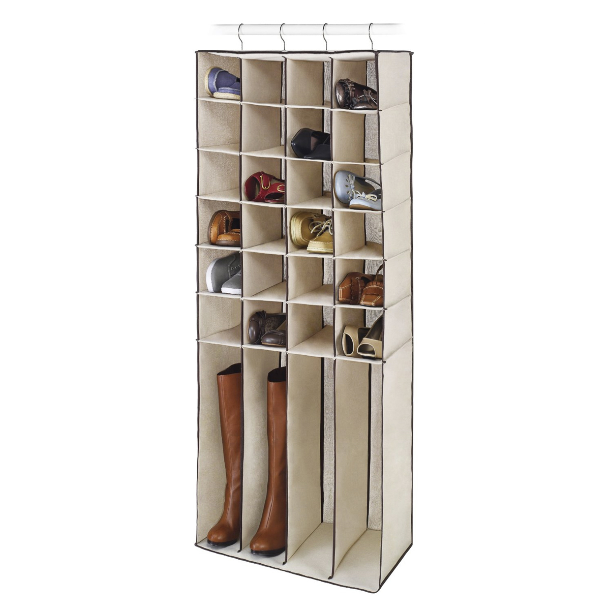 Whitmor 28 Pocket Hanging Closet Organizer Shoes Boots Canvas Storage  6687 4443