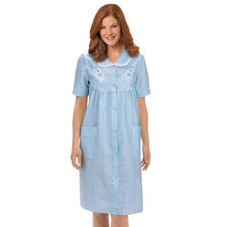 Women's Floral Gingham Print Pocket Lounge Robe with Snap Front Closure and Lace Trim, Large, Blue - Playboy Robe