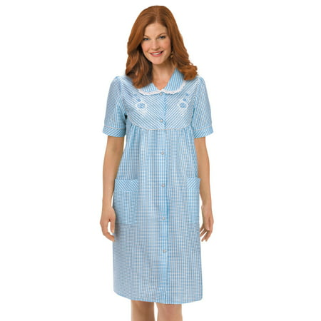 - Women's Floral Gingham Print Pocket Lounge Robe with Snap Front Closure and Lace Trim, Large, Blue