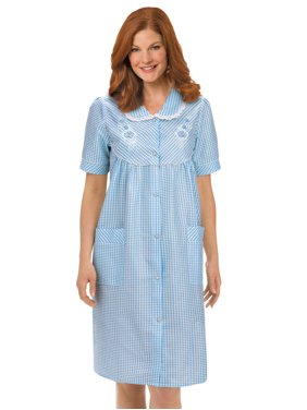 b1fd20ea49c Product Image Women's Floral Gingham Print Pocket Lounge Robe with Snap  Front Closure and Lace Trim, Large