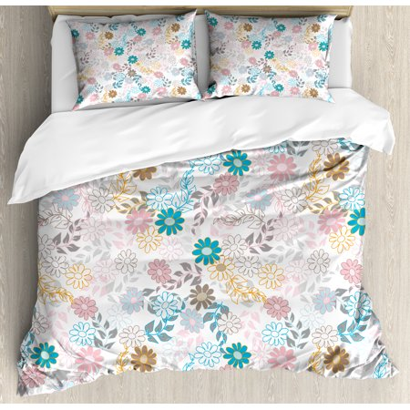 Floral King Size Duvet Cover (Floral King Size Duvet Cover Set, Cute Pastel Daisies and Leaves Blooming Retro Style Foliage Spring Color Palette, Decorative 3 Piece Bedding Set with 2 Pillow Shams, Multicolor, by Ambesonne )
