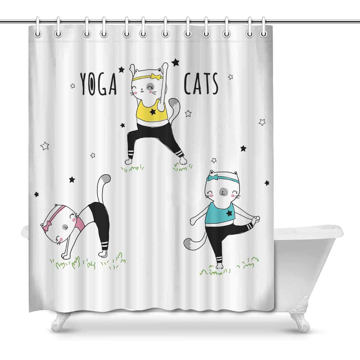 Cartoon Cute Cat Waterproof Polyester Bathroom Decor Shower Curtain /& Bath Mat !