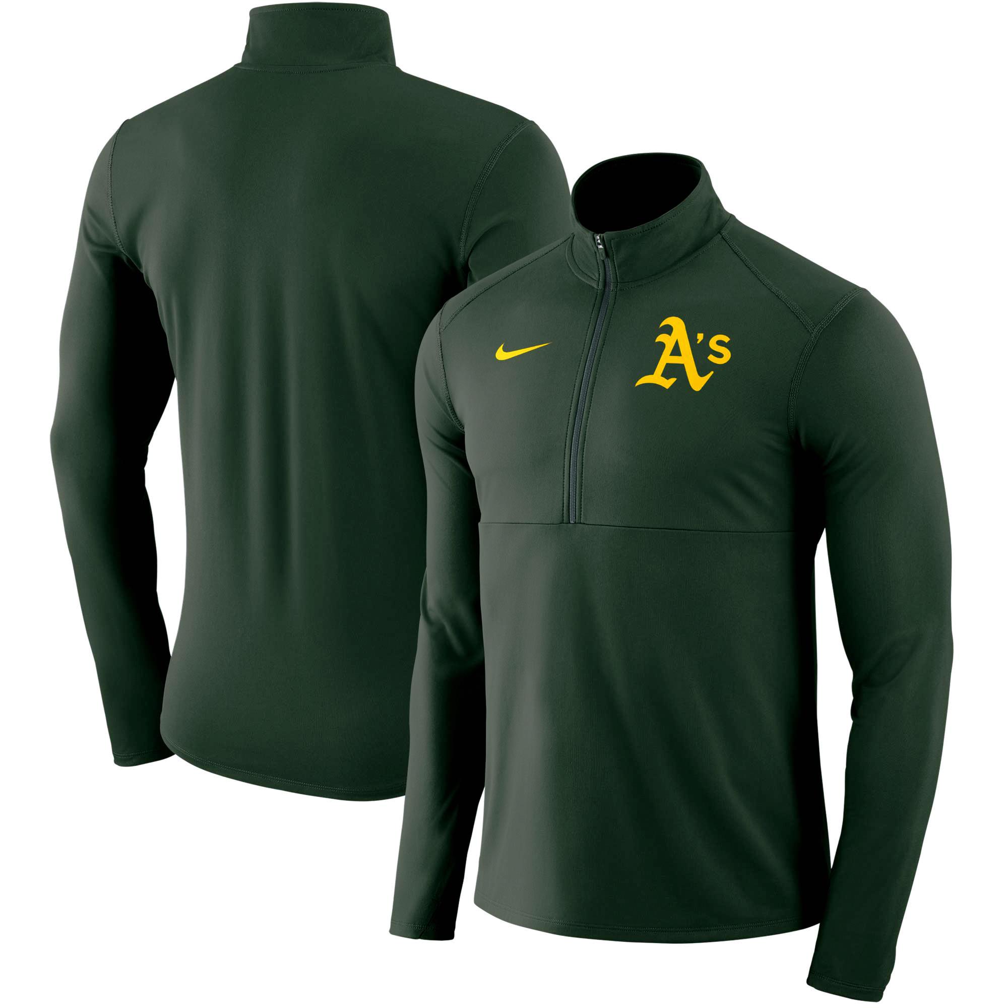 Oakland Athletics Nike Dry Element Half-Zip Performance Pullover - Green