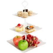 2 Pack Plastic Imitation Ceramics 3 Tier Square Cake Stand Party Food Server Display Set Dessert Stand Slate Serving Set for Sweet time