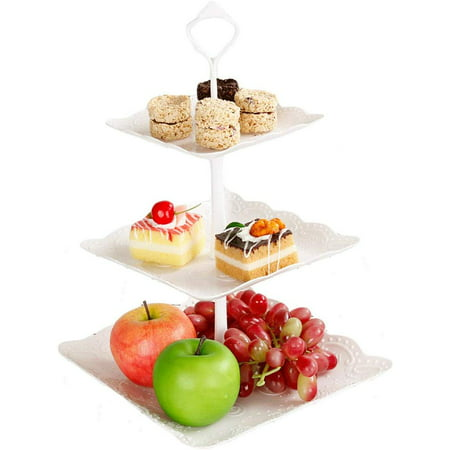 2 Pack Plastic Imitation Ceramics 3 Tier Square Cake Stand Party Food Server Display Set Dessert Stand Slate Serving Set for Sweet time Soft Heat Server Stand