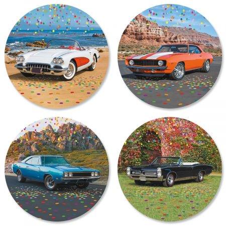 Classic Car Envelope Seals- Set of 24 Round Stickers