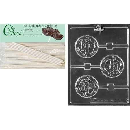 (Cybrtrayd 45St25-V173 Happy Valentine's Day Lolly Valentine Chocolate Candy Mold with 25 Cybrtrayd 4.5-Inch Lollipop Sticks)