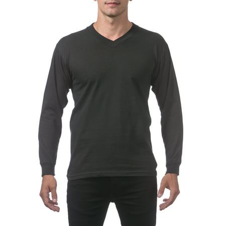 Black Long Sleeve V-neck Tee (Pro Club Men's Comfort Long Sleeve V-Neck Tee, Black, Small)