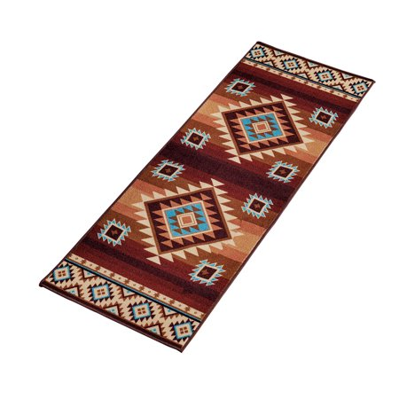 Southwest Inlay - Colorful Southwest Aztec Print, Skid-Resistant Rug, 22