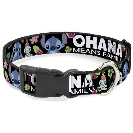 Cat Collar Breakaway Ohana Means Family Stitch Scrump Poses Tropical Flora Black 8 to 12 Inches 0.5 Inch Wide Fish Tropical Cat Collar