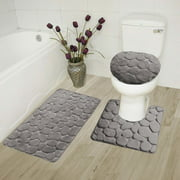 """3-Piece Rock Memory Foam Bathroom Mat Set in Gray, Flannel Embossed Rug 19""""x 30"""", Contour Mat 19""""x19"""", and Toilet Lid Cover 19""""x19"""" with Non-Skid Rubber Back"""
