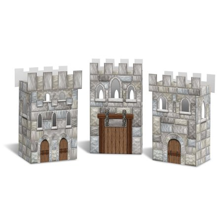 "Set of 3 Decorative 3-Dimensional Medieval Castle Party Favor Boxes 6"" - image 1 of 1"