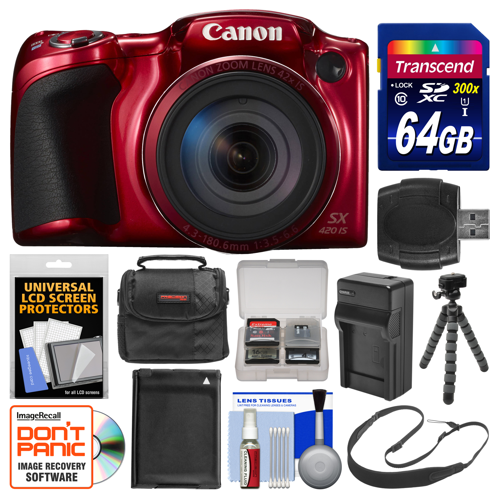 Canon PowerShot SX420 IS Wi-Fi Digital Camera (Red) with ...