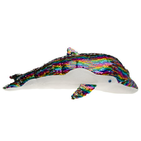 "GiftsNBeyond 20"" Dolphin Stuffed Animal Sequin Pillow For Couch Bed Chair Plush Stuffed Animals Toys](Stuffed Animal Pillows)"