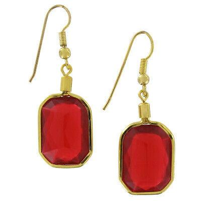 Red Faux Jewel Octagon Dangle Drop Pierced Earrings 1 3/8