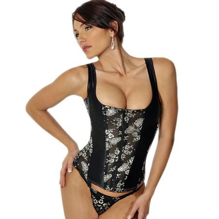 fd33d3c5dd6 Lurex Floral Lace   Satin Boned Camisole Cami Corset   G-String Lingerie Set
