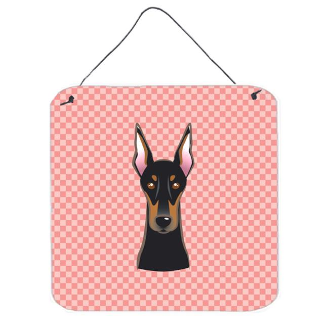 Checkerboard Blue Doberman Aluminum Metal Wall Or Door Hanging Prints, 6 x 6 In.
