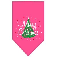 Scribble Merry Christmas Screen Print Bandana Bright Pink Large