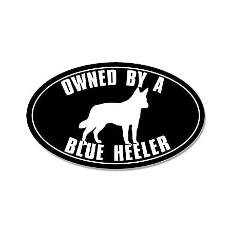 OVAL Owned By a BLUE HEELER Sticker Decal (australian cattle dog) Size: 3 x 5 inch