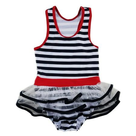 Little Girls Navy White Stripe Skirted One Piece Swimsuit
