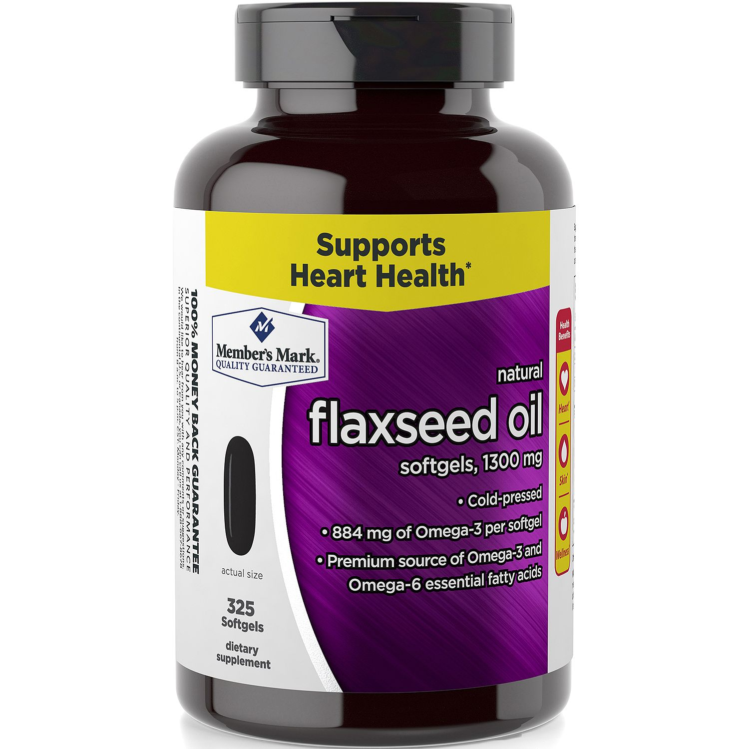 Member's Mark 1300 mg Flaxseed Oil Dietary Supplement (325 ct.)