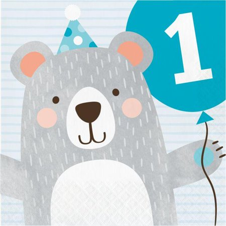 - Creative Converting Bear Party 1st Birthday Napkins, 16 ct