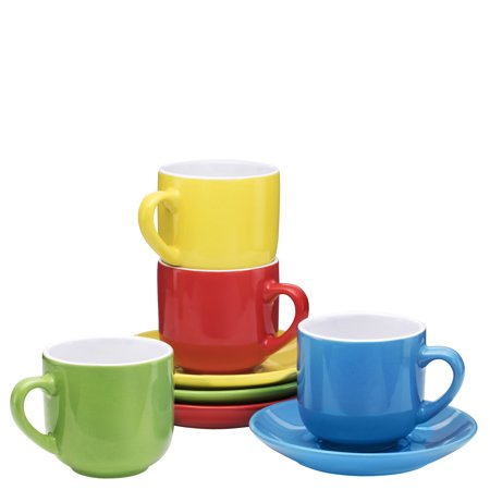 Espresso Cups with Saucers by Bruntmor - 4 ounce - Multi-Color - Set of - Cheap Tea Cups And Saucers