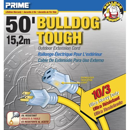 Prime Wire 50 Foot Bulldog Tough Ultra Heavy Duty Extension Cord With Indicator