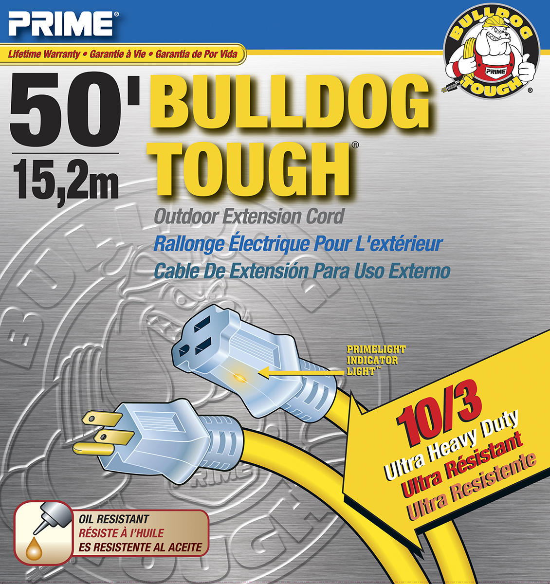 Prime Wire 50-Foot Bulldog Tough Ultra Heavy Duty Extension Cord With Indicator