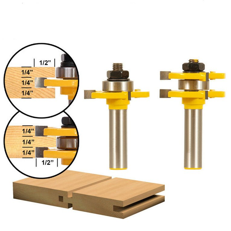 Cutter 2Pcs/Set Alloy Matched Tongue Groove Router Bit Woodworking Tool Set